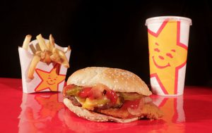 Fast food burger fries and a drink