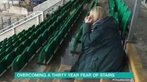A woman overcoming a thirty year fear of stairs on This Morning